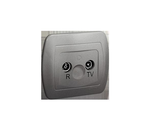 Gniazdo antenowe R-TV przelotowe tłum.:14dB aluminiowy, metalizowany