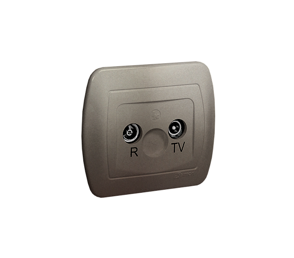 Gniazdo antenowe R-TV przelotowe tłum.:14dB satynowy, metalizowany