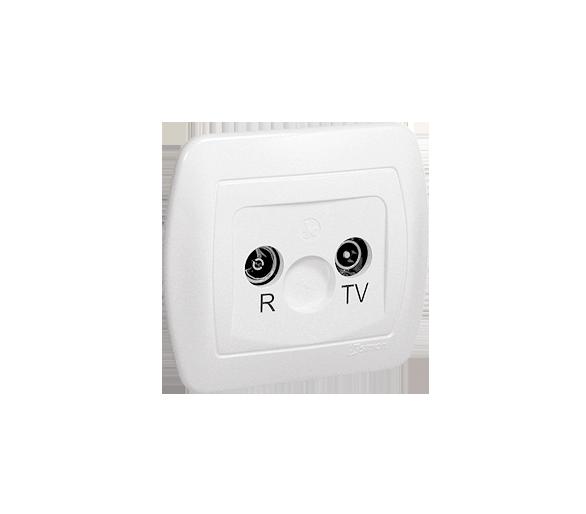 Gniazdo antenowe R-TV przelotowe tłum.:16dB biały AA16/11