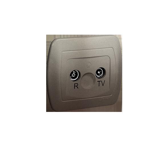 Gniazdo antenowe R-TV przelotowe tłum.:18dB satynowy, metalizowany