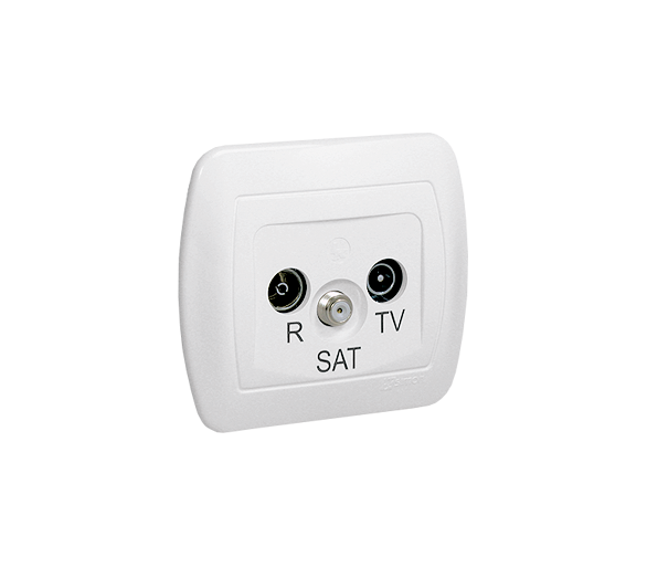 Gniazdo antenowe R-TV-SAT przelotowe tłum.:10dB biały AASP/11