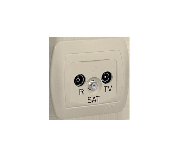 Gniazdo antenowe R-TV-SAT przelotowe tłum.:10dB beżowy AASP/12