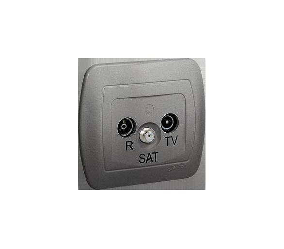 Gniazdo antenowe R-TV-SAT przelotowe tłum.:10dB aluminiowy, metalizowany