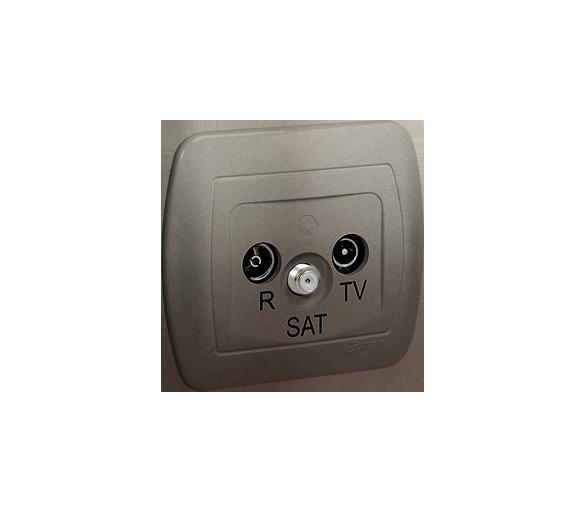 Gniazdo antenowe R-TV-SAT przelotowe tłum.:10dB satynowy, metalizowany AASP/29