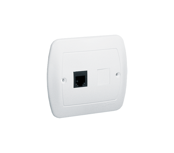 Gniazdo telefoniczne pojedyncze RJ11 biały ATF1/11