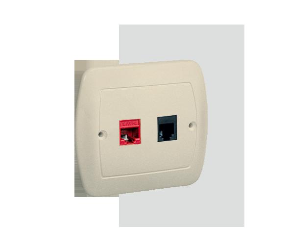 Gniazdo komputerowe RJ45 kategoria 5e + telefoniczne RJ11 beżowy
