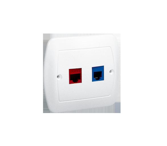 Gniazdo komputerowe RJ45 kategoria 5e + telefoniczne RJ12 biały