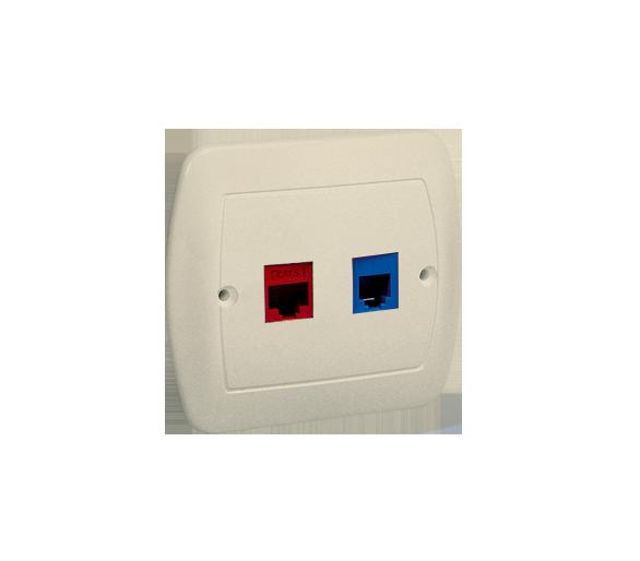 Gniazdo komputerowe RJ45 kategoria 5e + telefoniczne RJ12 beżowy