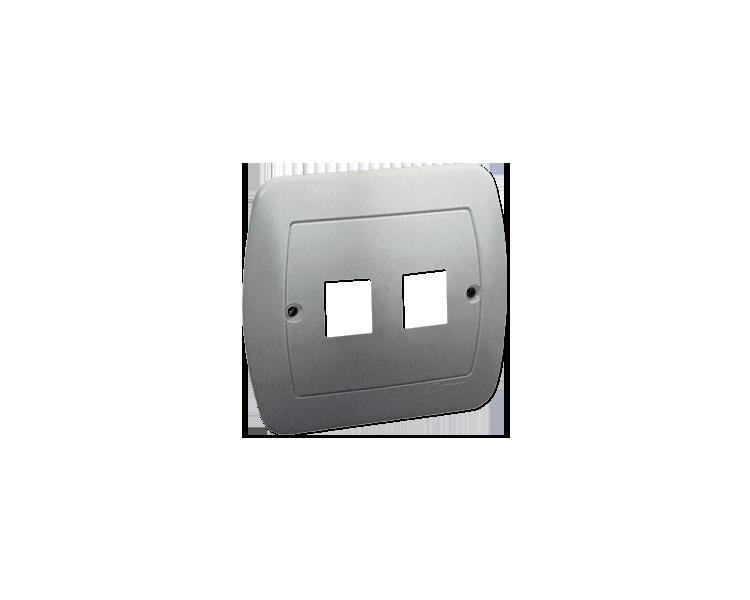 Pokrywa gniazd teleinformatycznych na Keystone płaska podwójna aluminiowy, metalizowany PL-999A/26