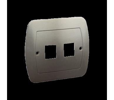Pokrywa gniazd teleinformatycznych na Keystone płaska podwójna satynowy, metalizowany PL-999A/29