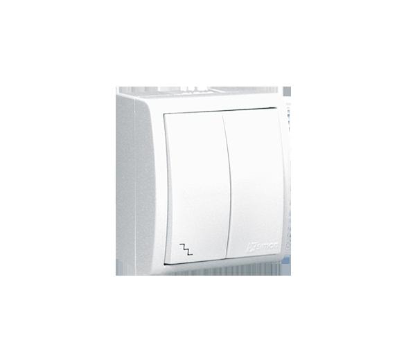 Łącznik schodowy podwójny z podświetleniem bryzgoszczelny biały 10AX