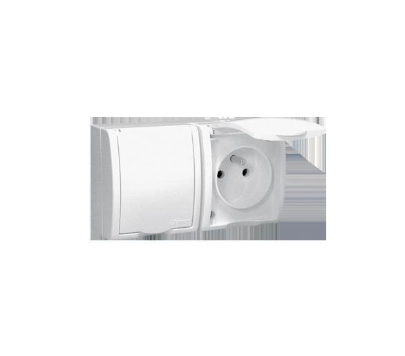Gniazdo wtyczkowe podwójne z uziemieniem w wersji IP54 - klapka w kolorze białym biały 16A AQGZ1-2/11
