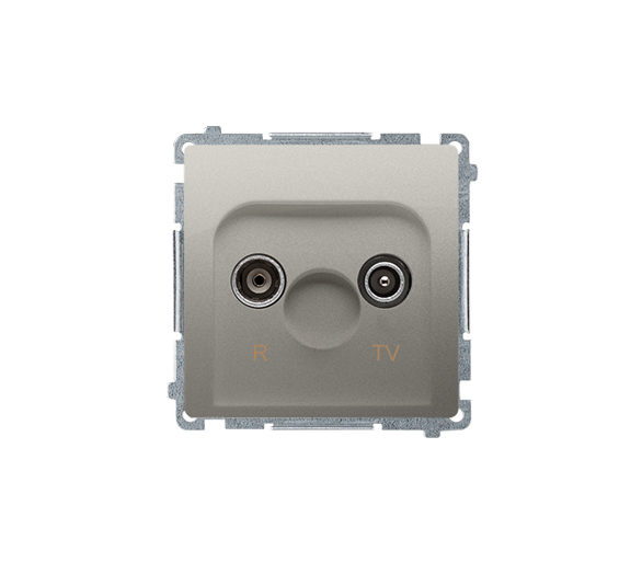 Gniazdo antenowe R-TV końcowe separowane tłum.:1dB satynowy, metalizowany