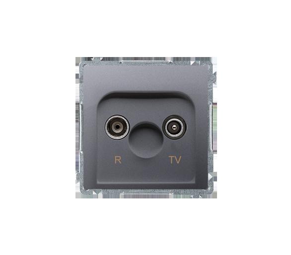 Gniazdo antenowe R-TV przelotowe tłum.:10dB inox, metalizowany BMZAP10/1.01/21