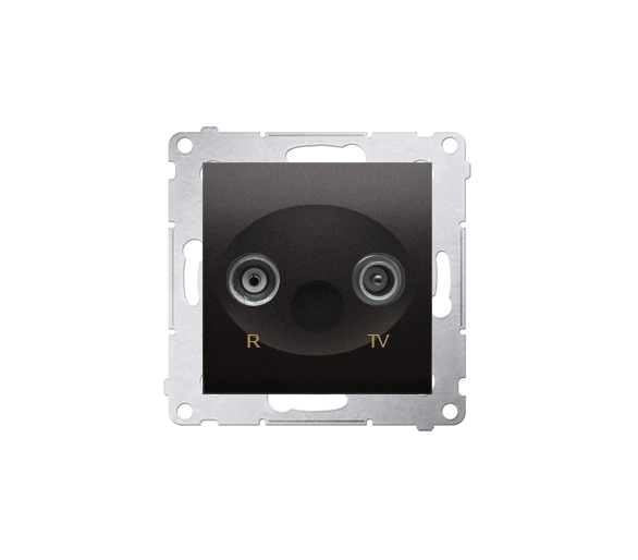 Gniazdo antenowe R-TV przelotowe tłum.:16dB antracyt, metalizowany DAP16.01/48