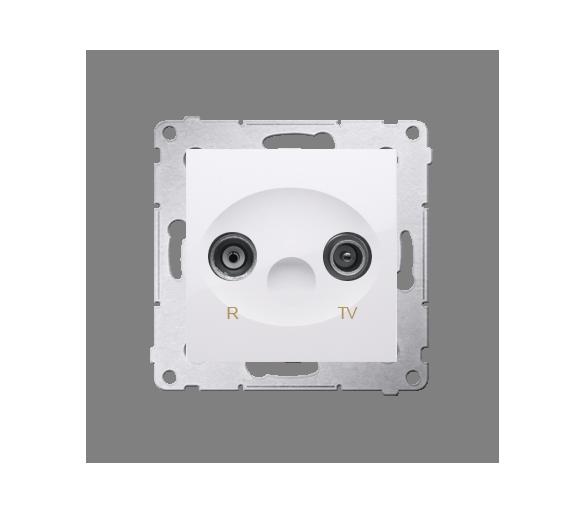 Gniazdo antenowe R-TV przelotowe tłum.:18dB biały DAP18.01/11