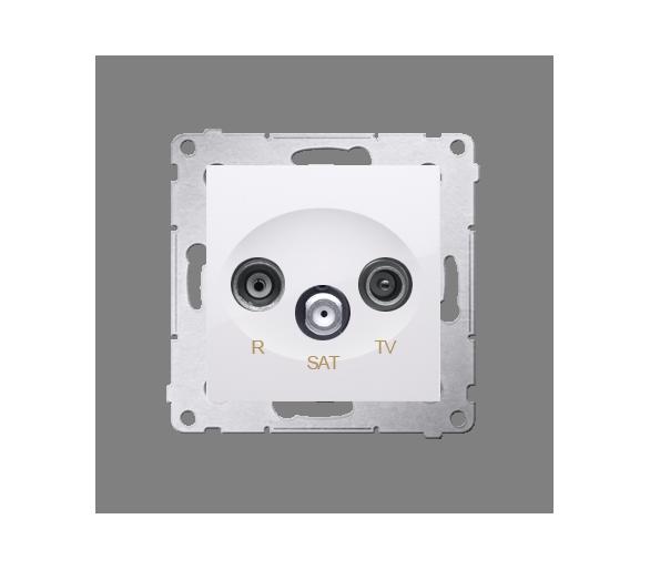 Gniazdo antenowe R-TV-SAT przelotowe tłum.:10dB biały DASP.01/11