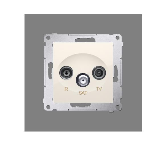 Gniazdo antenowe R-TV-SAT przelotowe tłum.:10dB kremowy DASP.01/41
