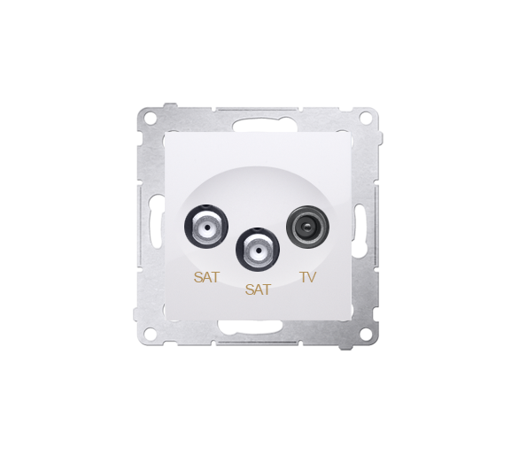 Gniazdo antenowe SAT-SAT-RTV satelitarne podwójne tłum.:1dB biały DASK2.01/11