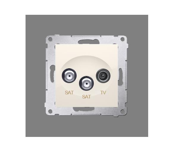 Gniazdo antenowe SAT-SAT-RTV satelitarne podwójne tłum.:1dB kremowy DASK2.01/41