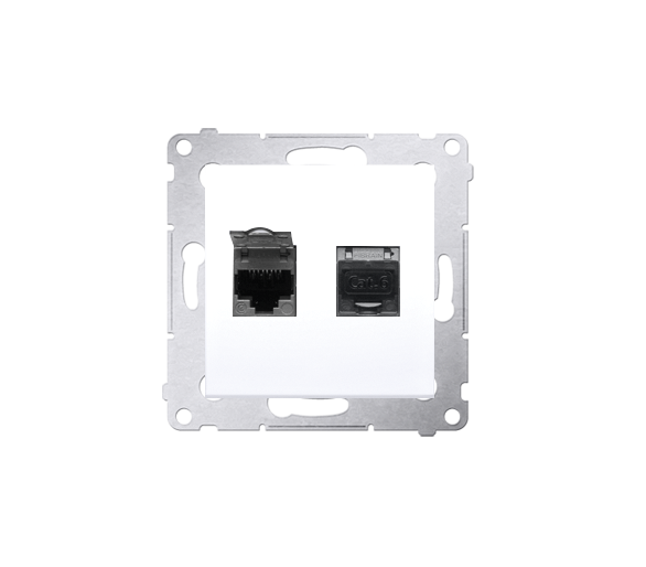 Gniazdo komputerowe podwójne ekranowane RJ45 kategoria 6, z przesłoną przeciwkurzową (moduł) biały D62E.01/11
