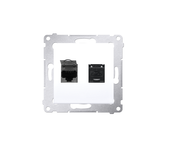 Gniazdo komputerowe podwójne RJ45 kategoria 6, z przesłoną przeciwkurzową (moduł) biały D62.01/11