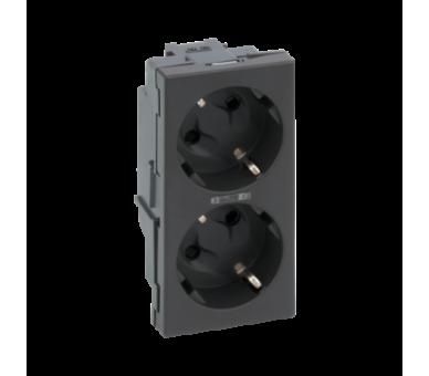 Gniazdo podwójne SIMON 500 SCHUKO z sygnalizacją napięcia 16A 250V szybkozłącza/zaciski śrubowe 100×50mm szary grafit 50010472-0