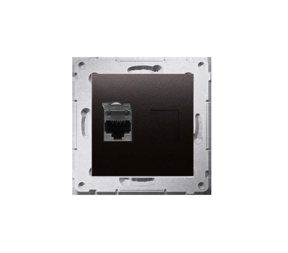 Gniazdo komputerowe pojedyncze ekranowane RJ45 kategoria 6, z przesłoną przeciwkurzową (moduł) antracyt, metalizowany D61E.01/48