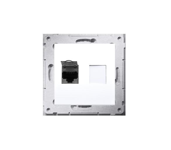 Gniazdo komputerowe pojedyncze ekranowane RJ45 kategoria 6, z przesłoną przeciwkurzową (moduł) biały D61E.01/11