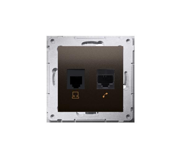 Gniazdo komputerowe RJ45 kategoria 5e + telefoniczne RJ12 (moduł) antracyt, metalizowany D5T.01/48