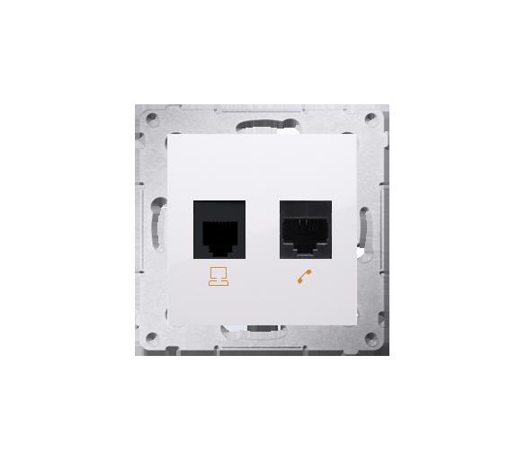 Gniazdo komputerowe RJ45 kategoria 5e + telefoniczne RJ12 (moduł) biały D5T.01/11