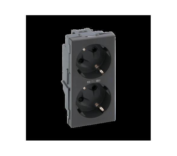 Gniazdo podwójne SIMON 500 SCHUKO z sygnalizacją napięcia 16A 250V szybkozłącza/nożowe 100×50mm szary grafit 50010432-038