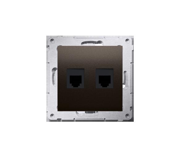 Gniazdo telefoniczne podwójne RJ12 (moduł) antracyt, metalizowany DT2.01/48
