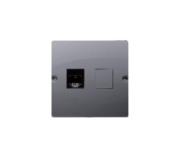Gniazdo telefoniczne pojedyncze RJ11 (moduł) srebrny mat, metalizowany