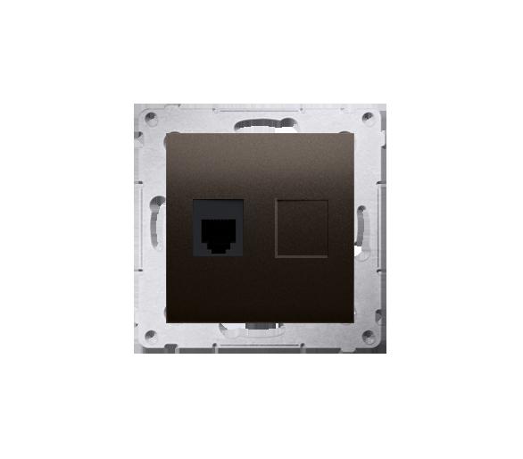 Gniazdo telefoniczne pojedyncze RJ12 (moduł) antracyt, metalizowany DT1.01/48