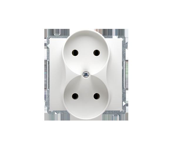 Gniazdo wtyczkowe podwójne bez uziemienia biały 16A BMG2M.01/11