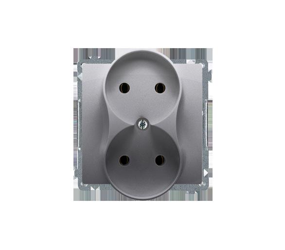 Gniazdo wtyczkowe podwójne bez uziemienia inox, metalizowany 16A BMG2M.01/21