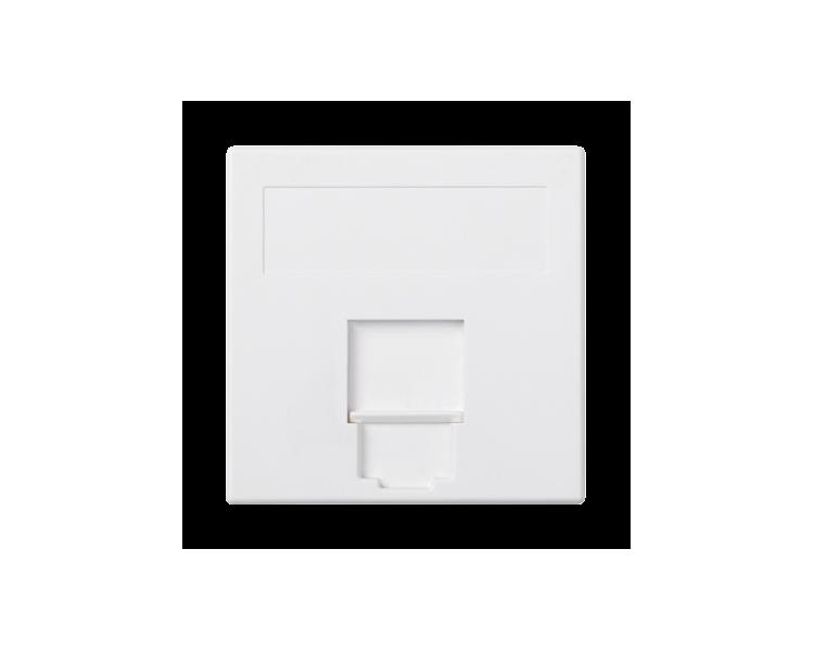 Plakietka teleinformatyczna SIMON 500 NEXANS pojedyncza płaska z osłoną 50×50mm czysta biel 50018085-030
