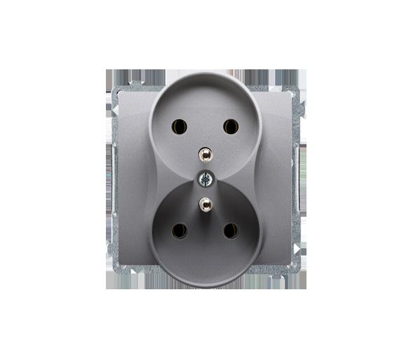 Gniazdo wtyczkowe podwójne z uziemieniem z przesłonami inox, metalizowany 16A BMGZ2MZ.01/21
