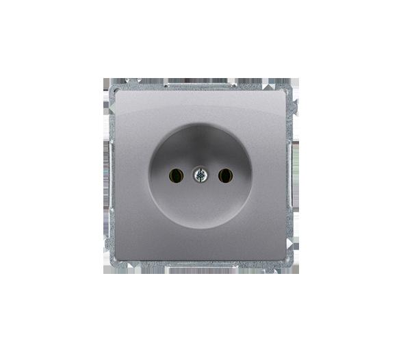 Gniazdo wtyczkowe pojedyncze bez uziemienia inox, metalizowany 16A BMG1.01/21