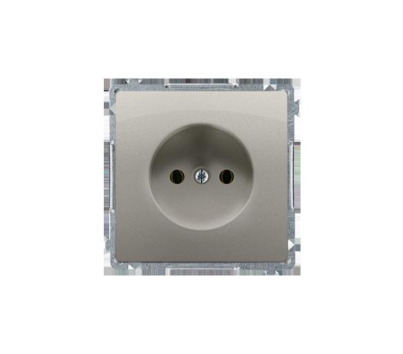 Gniazdo wtyczkowe pojedyncze bez uziemienia satynowy, metalizowany 16A BMG1.01/29