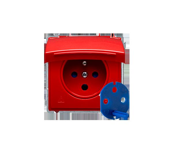 Gniazdo wtyczkowe pojedyncze DATA do wersji IP44 z kluczem uprawniającym czerwony 16A BMGD1B.01/22
