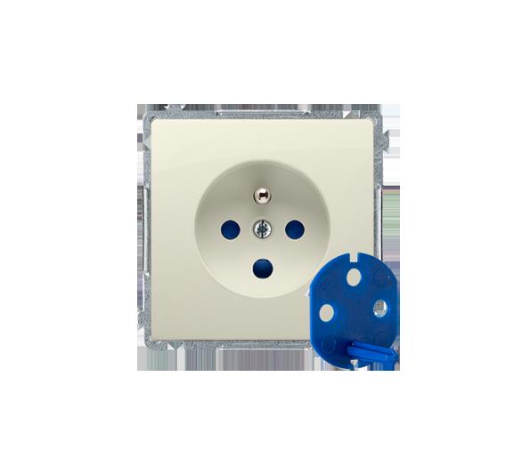 Gniazdo wtyczkowe pojedyncze DATA z kluczem uprawniającym beżowy 16A BMGD1.01/12