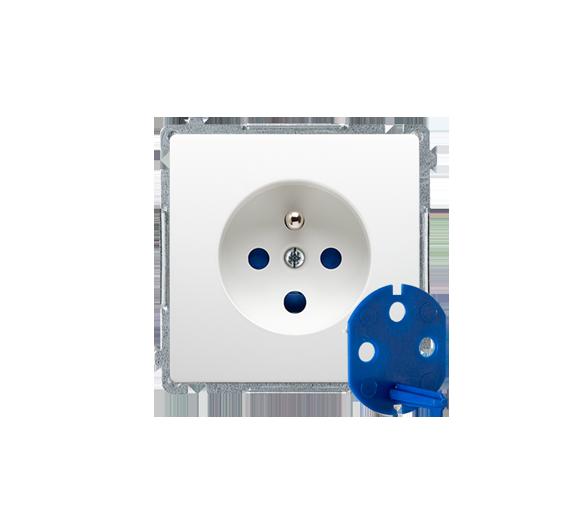 Gniazdo wtyczkowe pojedyncze DATA z kluczem uprawniającym biały 16A BMGD1.01/11