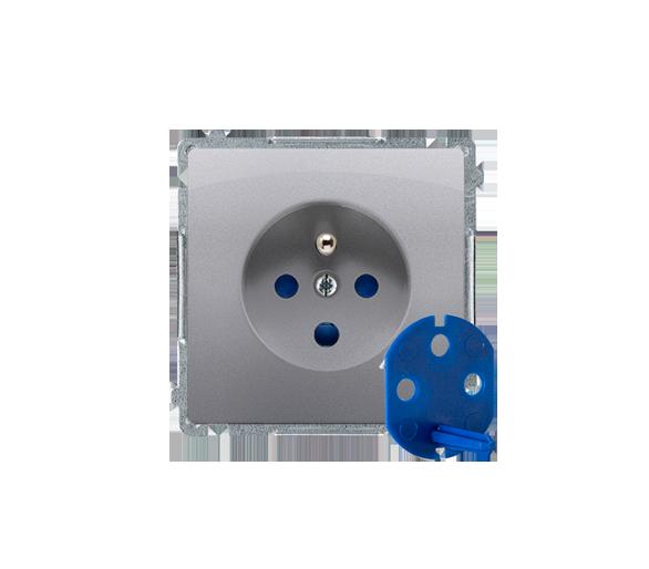 Gniazdo wtyczkowe pojedyncze DATA z kluczem uprawniającym inox, metalizowany 16A BMGD1.01/21
