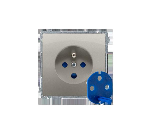Gniazdo wtyczkowe pojedyncze DATA z kluczem uprawniającym satynowy, metalizowany 16A BMGD1.01/29