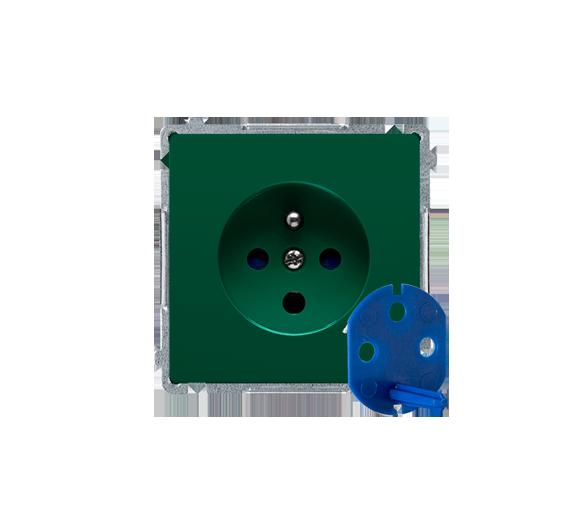 Gniazdo wtyczkowe pojedyncze DATA z kluczem uprawniającym zielony 16A BMGD1.01/33