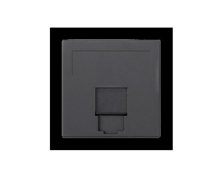 Plakietka teleinformatyczna SIMON 500 NEXANS pojedyncza płaska z osłoną 50×50mm szary grafit 50018085-038
