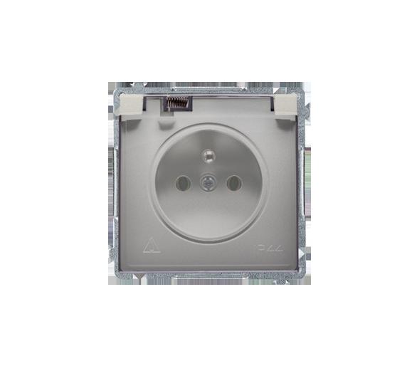 Gniazdo wtyczkowe pojedyncze w wersji IP44 -  klapka w kolorze transparentnym satynowy, metalizowany 16A BMGZ1B.01/29A