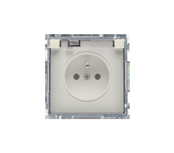 Gniazdo wtyczkowe pojedyncze w wersji IP44 z przesłonami torów prądowych -  klapka w kolorze transparentnym beżowy 16A BMGZ1BZ.0